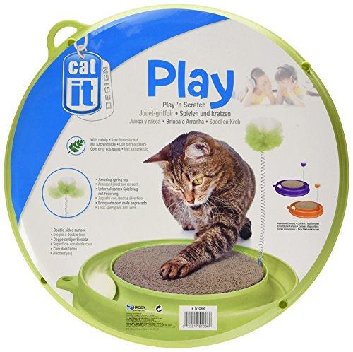 Catit Play-n-Scratch – mit Ball Kratzmatte Feder und Katzenminze - 3